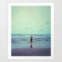 Woman On The Beach Art Print