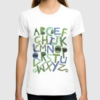 Monster Alphabet. Womens Fitted Tee White SMALL