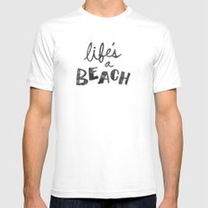 Life's a Beach. Mens Fitted Tee White SMALL