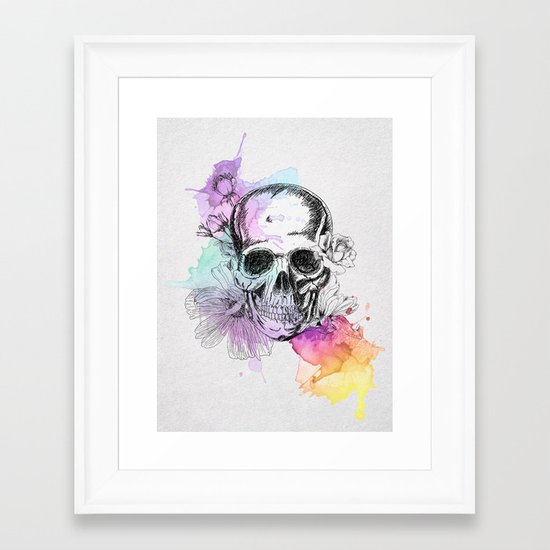 Color Skull Framed Art Print