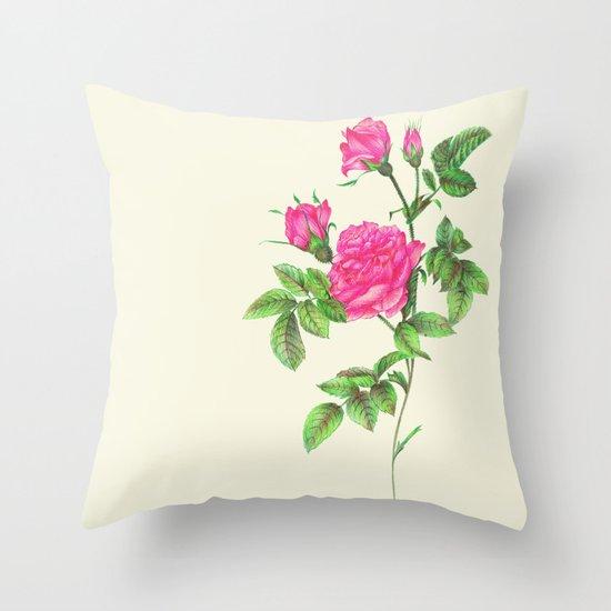 Ballpoint Pen, Redouté's Roses Throw Pillow