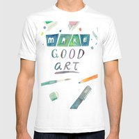 Make Good Art Mens Fitted Tee White SMALL