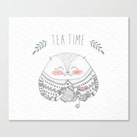 tea time cat Canvas Print