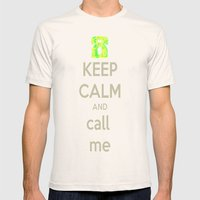 Keep Calm Call Mens Fitted Tee Natural SMALL