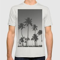 Palm Trees II Mens Fitted Tee Silver SMALL