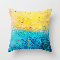 THE DIVIDE - Stunning Bold Colors, Ocean Waves Sun, Modern Beach Chic Theme Abstract Painting Throw Pillow