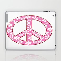 Peace Sign With Flowers In Pink Laptop & iPad Skin