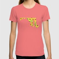 Maryland In Flowers Womens Fitted Tee Pomegranate SMALL