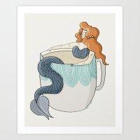 Tea Mermaid Art Print