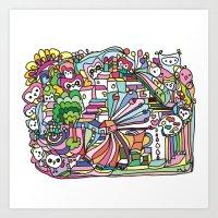 Doodle Owl Village Art Print