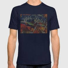 War Of The Worlds Script Print Mens Fitted Tee Navy SMALL