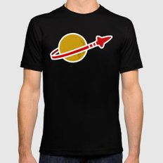 Blue Spaceman Mens Fitted Tee Black SMALL
