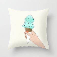 mint chocochip ice cream Throw Pillow