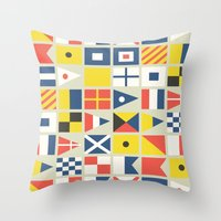 Geometric Nautical flag and pennant Throw Pillow