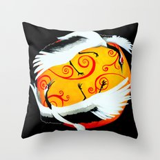 Japanese (Red-Crowned) Cranes Throw Pillow