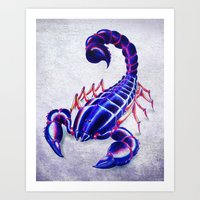 Purple scorpion Art Print