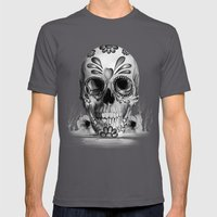 Pulled sugar, day of the dead skull Mens Fitted Tee Asphalt SMALL