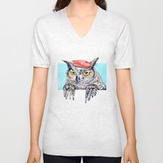 Serious Horned Owl in Red Beret  Unisex V-Neck