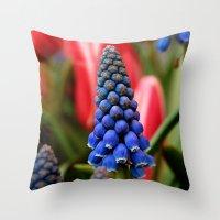 Grape Hyacinth and Tulips Throw Pillow