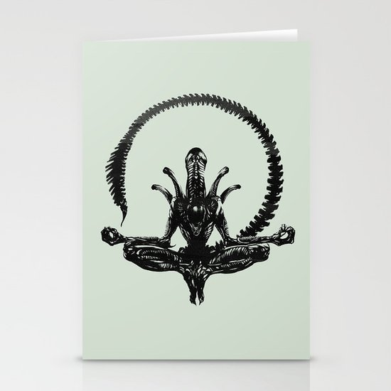 Meditation Alien Stationery Card