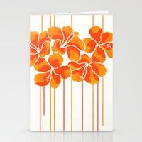 Hibiscus Stripe: Orange … Stationery Cards