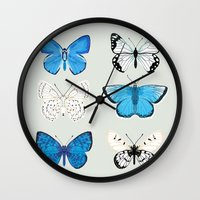 Lepitoptery No. 2 - Blue and White Butterflies and Moths Wall Clock
