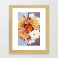 orange, yellow and white flowers  Framed Art Print