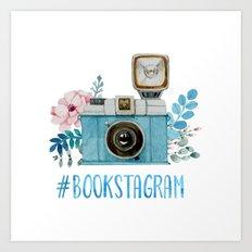 Blue Bookstagram Art Print