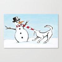 Canine Christmas (Snowma… Canvas Print