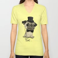 Pug; Gentle Pug (v3) Unisex V-Neck
