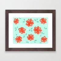 Cheerful Red Flowers Pat… Framed Art Print