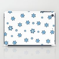 Snowflakes (Blue & Black on White) iPad Case