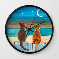 Wall Clock featuring Cats On A Fence by Gretzky
