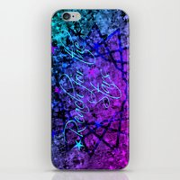 REACH FOR THE STARS Bold Midnight Blue Purple, Galactic Stars Space Abstract Fine Art Painting iPhone & iPod Skin