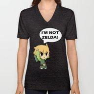 I'm Not Zelda! (link Fro… Unisex V-Neck