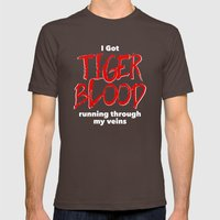 Tiger Blood on black Mens Fitted Tee Brown SMALL