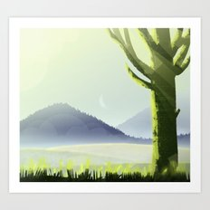 Mountains and a Moon Art Print