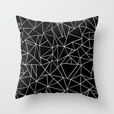 Abstraction Outline Black and White Throw Pillow