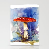 Fly Agaraic, Magic Mushroom, Mushroom, Shrooms, woodland, fairytale, toadstool Stationery Cards