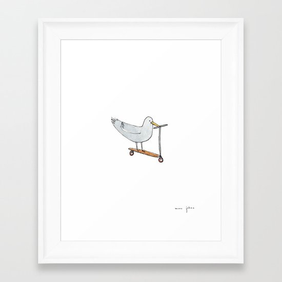 bird on a scooter Framed Art Print