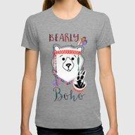 Bearly Boho Polar Bear H… Womens Fitted Tee Tri-Grey SMALL