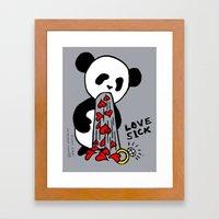 LOVESICK PANDA - Grey Framed Art Print