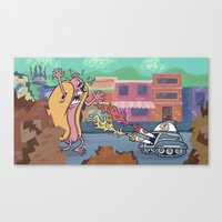 Hot Dog Attack! Canvas Print