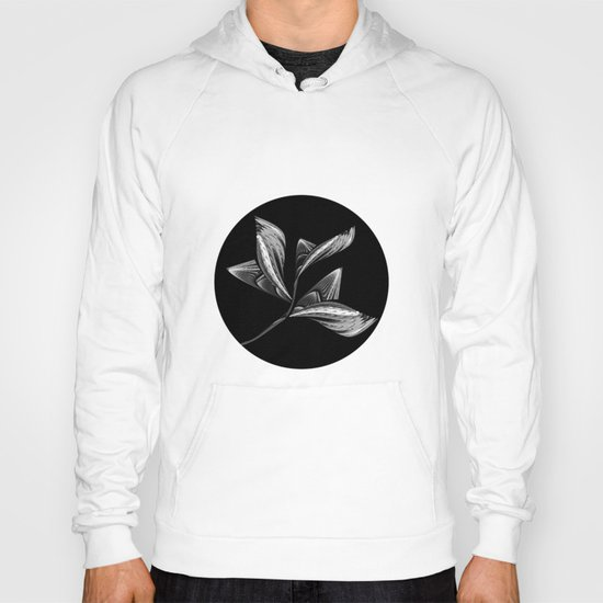 Embroidered Flower - black-and-white Hoody