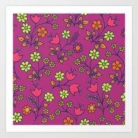 Retro Bloom Purple 2 Art Print