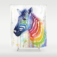 Zebra Watercolor Rainbow Painting | Ode to Fruit Stripes Shower Curtain