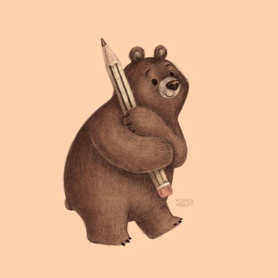 The Drawing Bear Art Print
