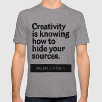 Creativity is knowing how to hide your sources Mens Fitted Tee Athletic Grey SMALL