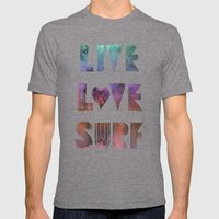 Live Love Surf - I Mens Fitted Tee Tri-Grey SMALL