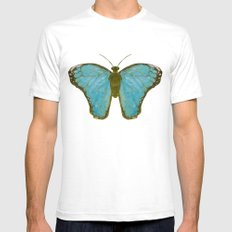 Take Flight Butterfly SMALL White Mens Fitted Tee